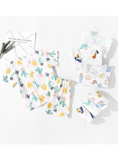 蓝粉象童装品牌2019春夏新款短袖套装纯棉婴儿薄款短袖短裤套装