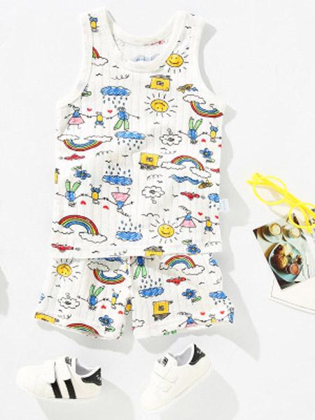 蓝粉象童装品牌2019春夏新款短袖套装中小童背心套装纯棉薄款
