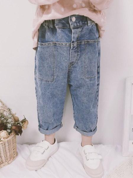 芸儿童装品牌2019春夏新款韩版休闲直筒牛仔裤