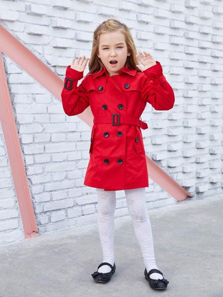 摩乐豆童装品牌2019秋季新款风衣 双排扣女童外套
