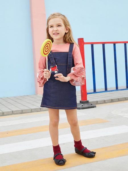 摩乐豆童装品牌2019秋季新款韩版 短款蓝色牛仔背带裙