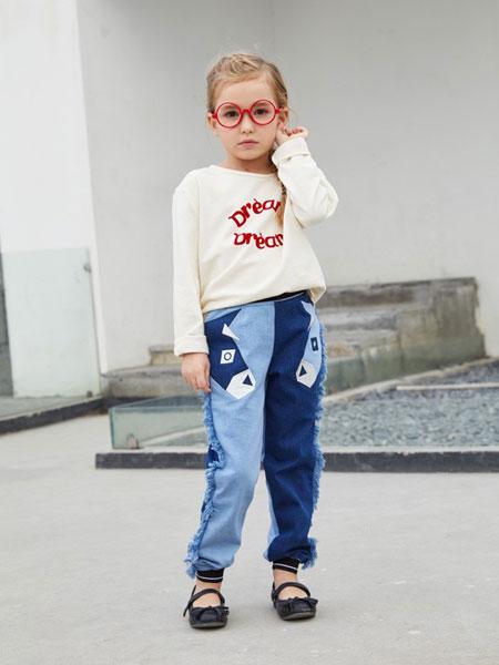 摩乐豆童装品牌2019秋季新品白色圆领套头衫卫衣