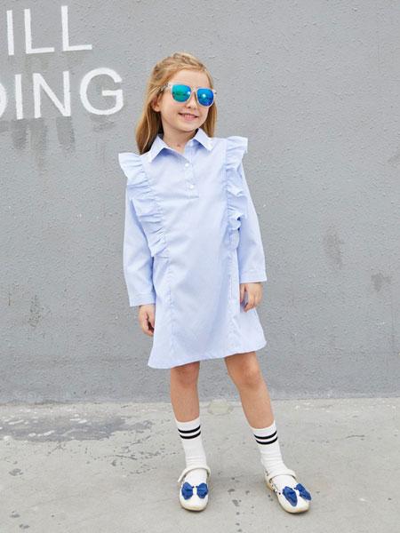 摩乐豆童装品牌2019秋季系扣翻领褶皱系带短袖衬衫