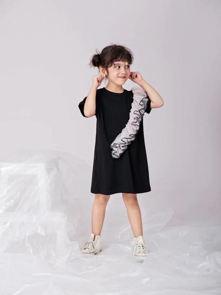 田果果童装品牌2019春夏新款不规则荷叶边儿童针织裙公主裙礼服