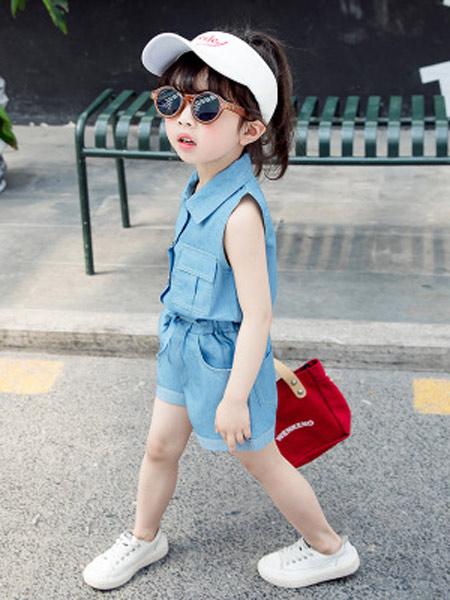黎豆童装品牌2019春夏新款短袖短裤套装牛仔纯棉两件套