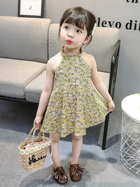黎豆童装品牌2019春夏新款脖漏肩裙子女童碎花清新连衣裙