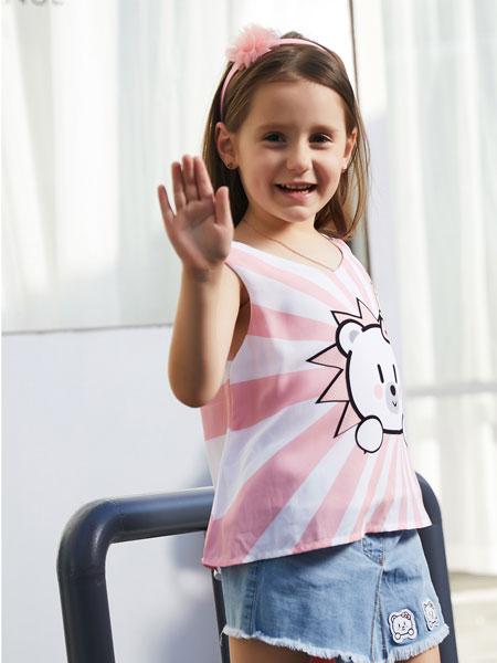 杰米熊童装品牌2019春夏新款印花纯棉T恤套头短袖