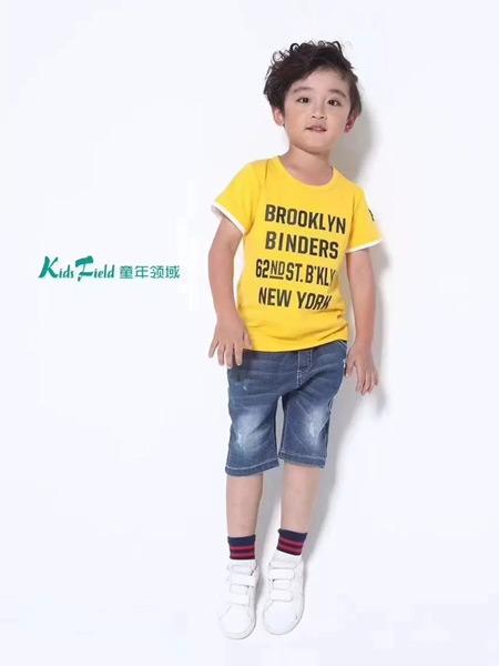 童年领域童装品牌2019春夏新款韩版圆领纯棉字母短袖T恤