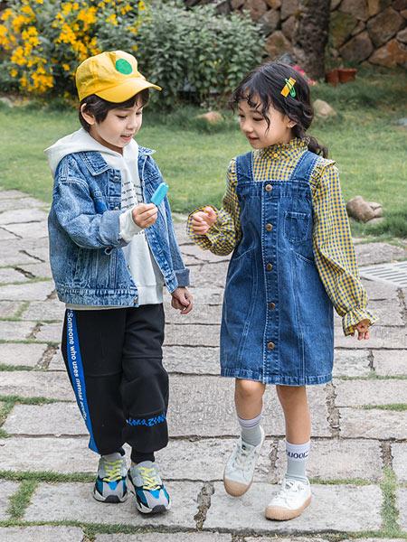 木朵爸爸童装品牌2019秋季新款韩版潮宽松假两件牛仔连衣裙