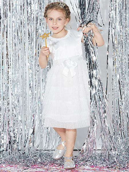 小笑牛童装品牌2019春夏新款韩版洋气无袖公主裙连衣裙