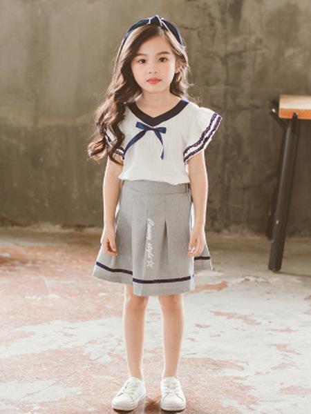 梵曦童装品牌2019春夏新款韩版儿童短袖+百褶短A字半身裙套装