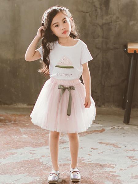 梵曦童装品牌2019春夏新款韩版印花儿童短袖t恤+网纱半身裙套装