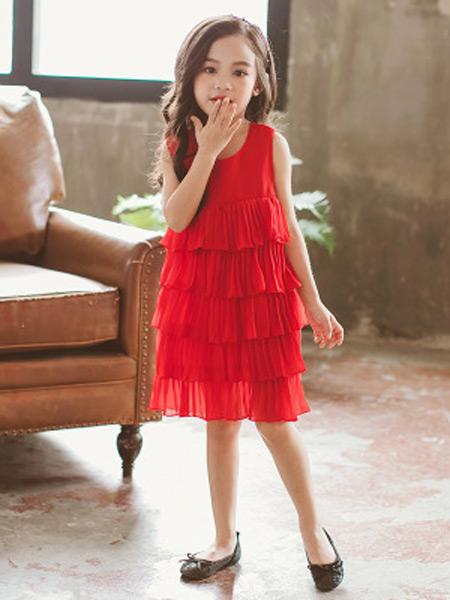 梵曦童装品牌2019春夏新款韩版可爱公主范儿纯色百褶裙儿童连衣裙