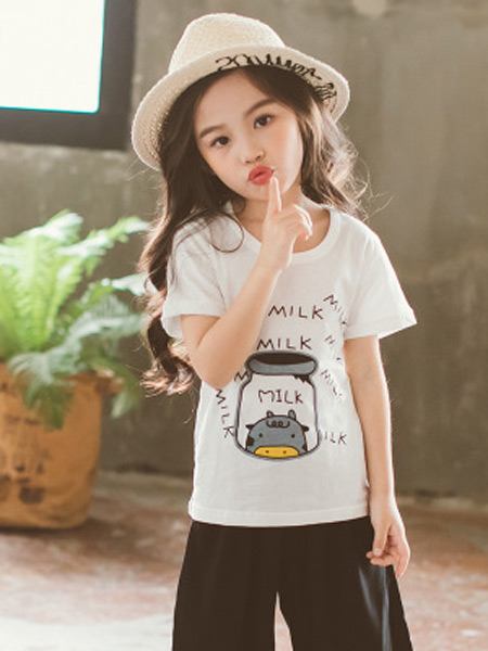 梵曦童装品牌2019春夏新款韩版可爱百搭圆领印花短袖T恤