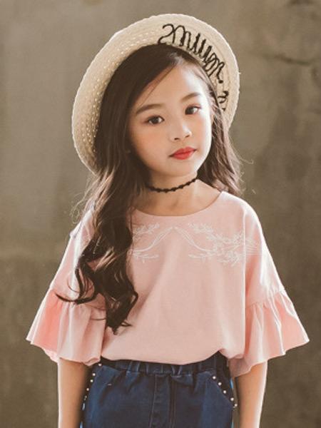 梵曦童装品牌2019春夏新款韩版可爱百搭圆领印花荷叶边儿童短袖T恤