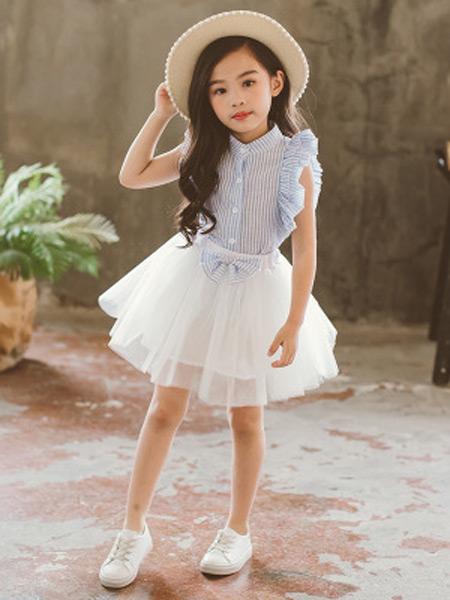 梵曦童装品牌2019春夏新款韩版百搭条纹上衣+网纱半身裙两件套套装