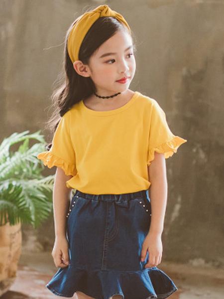 梵曦童装品牌2019春夏新款韩版修身百搭纯色圆领可爱儿童短袖T恤