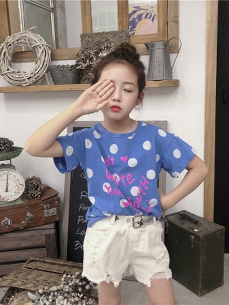 咸鱼太太童装品牌2019春夏新款纯棉印花短袖T恤大圆点上衣韩版潮