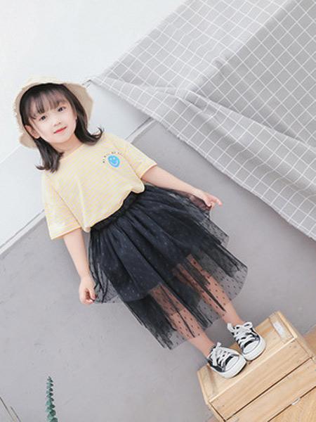二丫 甜童装品牌2019春夏新款时尚百搭条纹T恤圆领上衣