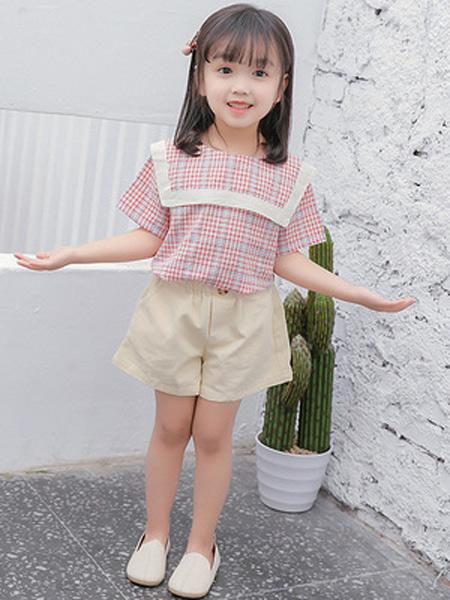 二丫 甜童装品牌2019春夏新款时尚格子百搭棉麻上衣