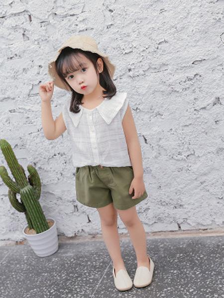 二丫 甜童装品牌2019春夏新款纯色娃娃领韩版上衣棉麻无袖背心