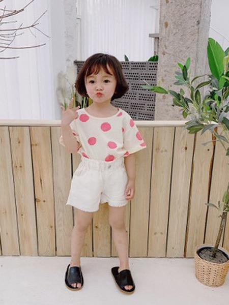 二丫 甜童装品牌2019春夏新款韩版短袖波点圆领T恤时尚卡通针织上衣