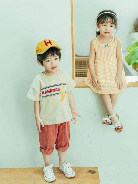创印象童装品牌2019春夏男童字母香蕉T恤