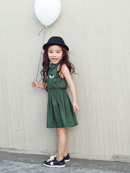 Apple Orange童装品牌2019春夏女童连衣裙韩版棉麻吊带裙
