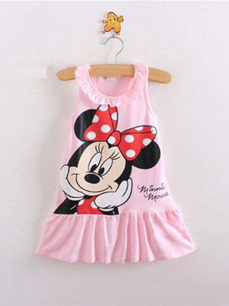 红泉树童装品牌新款韩版时尚休闲荷叶领背心连衣裙