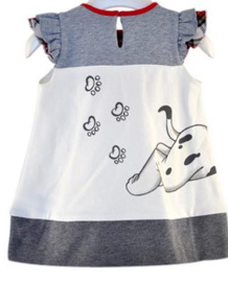 红泉树童装品牌新款韩版可爱小狗印花连衣裙