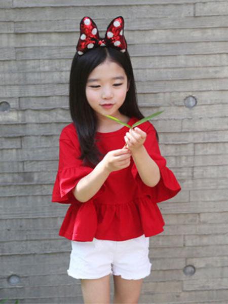 新线童装品牌2019春夏新款韩版大红色喇叭中袖上衣T恤
