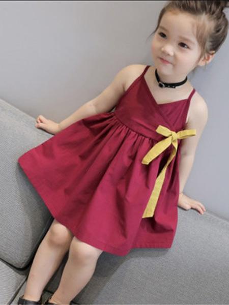 新线童装品牌2019春夏新款韩版纯色吊带丝带连衣裙