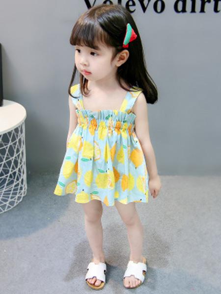 新线童装品牌2019春夏新款纯棉柠檬抹胸吊带连衣裙子公主裙