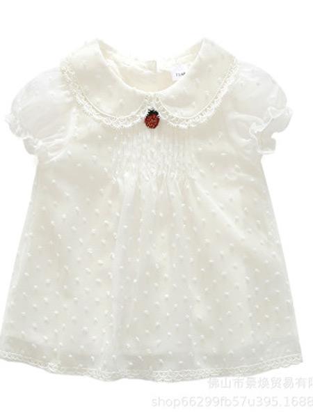 景焕童装品牌2019春夏新款短袖白色点点雪纺草莓连衣裙