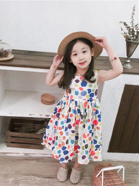 琪炫童装品牌2019春夏新款时尚无袖圆点背心裙