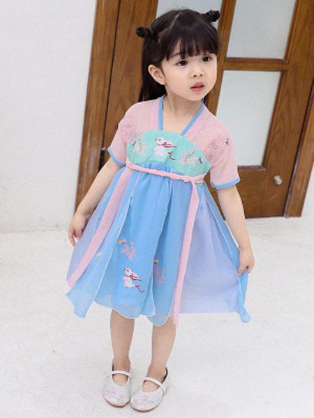 恺嘟之家童装品牌2019春夏新款中国风民族女童汉服襦裙刺绣公主裙