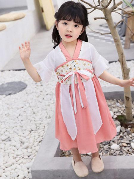 恺嘟之家童装品牌2019春夏新款汉服复古中国风雪纺儿童襦裙连衣裙公主裙