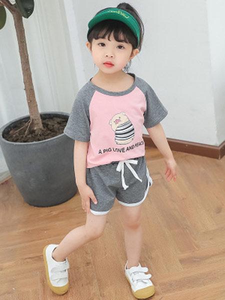 恺嘟之家童装品牌2019春夏新款潮时尚短袖短裤两件套