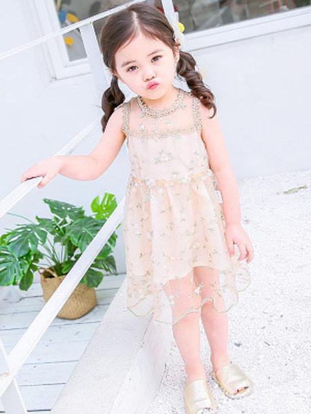 恺嘟之家童装品牌2019春夏新款甜美风儿童蕾丝吊带裙子公主裙