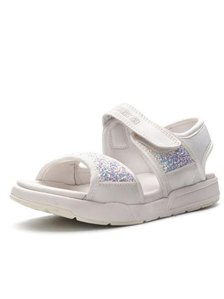 斯乃纳童鞋品牌2019春夏新款亮片运动露趾防滑沙滩鞋平底魔术贴