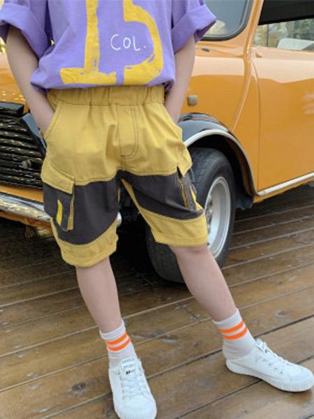 木口羊童装品牌2019春夏新款韩版字母印花休闲裤立体口袋洋气中裤