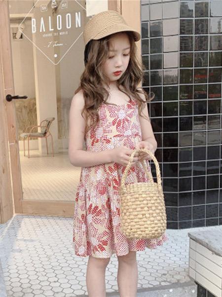 木口羊童装品牌2019春夏新款洋气太阳花吊带裙连衣裙