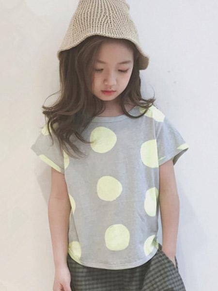 木口羊童装品牌2019春夏新款韩版灰色圆点短袖T恤洋气百搭纯棉上衣