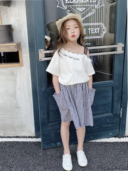木口羊童装品牌2019春夏新款韩版波浪领提花肩带短袖T恤+格子半身裙两件套