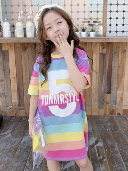 木口羊童装品牌2019春夏新款韩版儿童彩虹连衣裙洋气假两件字母印花T恤裙