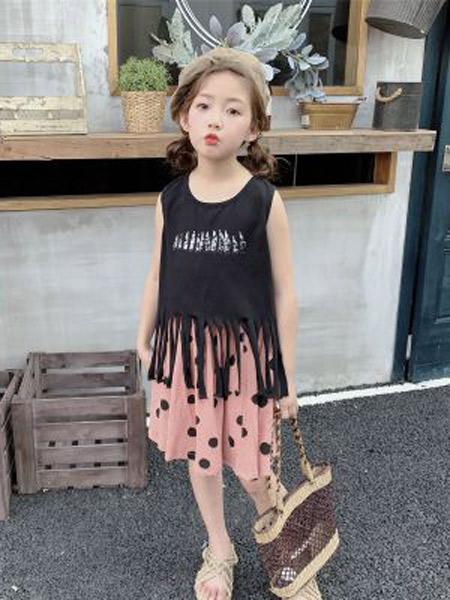 木口羊童装品牌2019春夏新款韩版纯色圆点半身裙洋气百褶裙