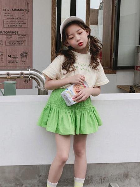 木口羊童装品牌2019春夏新款韩版洋气荧光绿半身裙