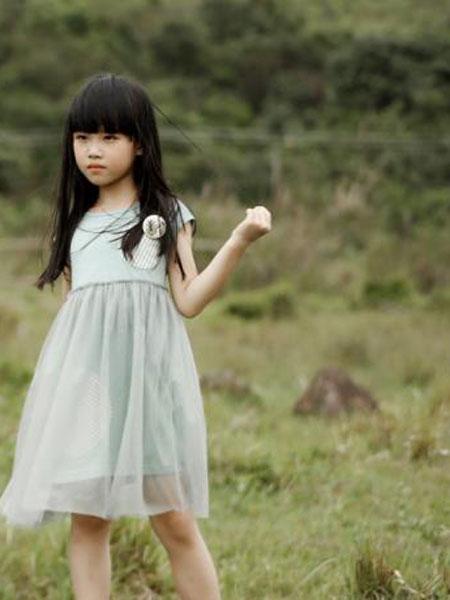 棉绘童装品牌2019春夏新款公主女童洋气荷叶边袖网纱连衣裙