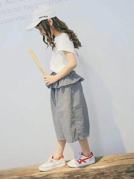 木子MUUZI童装品牌2019春夏复古花边格子裤子