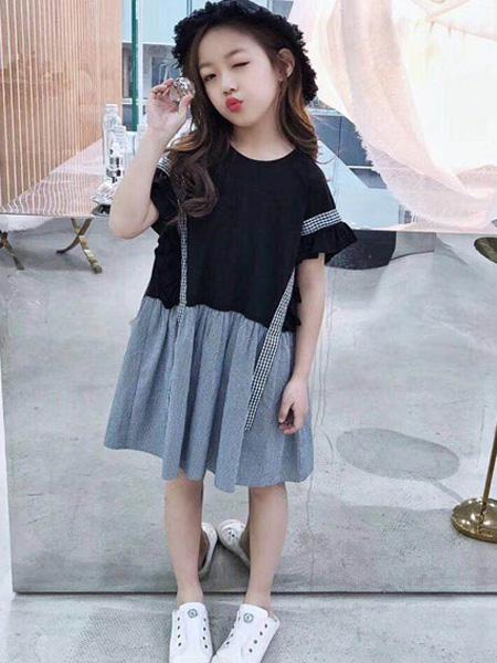 木子MUUZI童装品牌2019春夏格子个性木耳边短袖连衣裙
